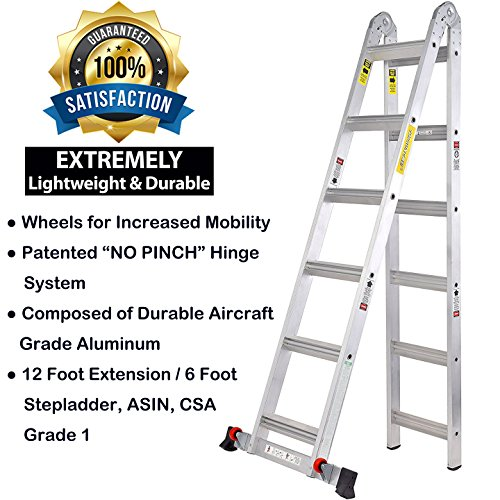 TOPRUNG 12ft. 2IN1 Aluminum Extension Ladder, Multi-Purpose Step ...