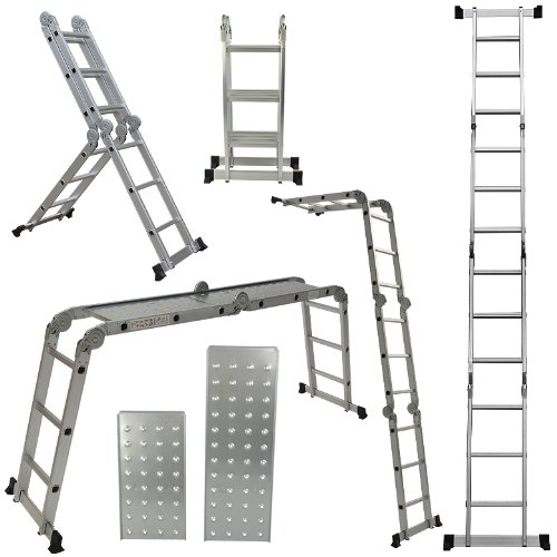 Arksen 12 5ft Aluminum Ladder En131 Platform Multi Purpose